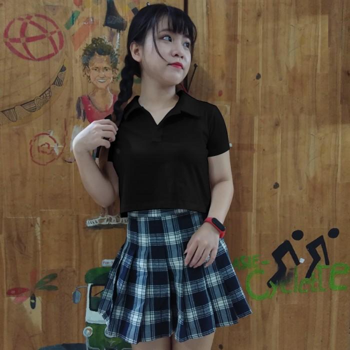 Áo croptop polo đen lulo 100% cotton, cổ bẻ, mềm mịn, dày đẹp
