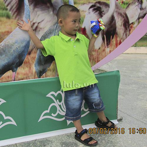 Áo thun cổ trụ trẻ em - Màu xanh chuối