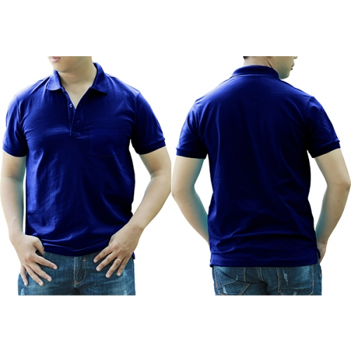 Polo shirt with pocket - Blue