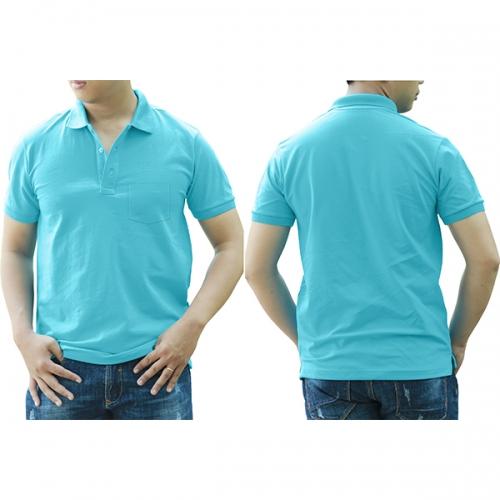 Áo thun cổ trụ có túi - Màu xanh thiên thanh