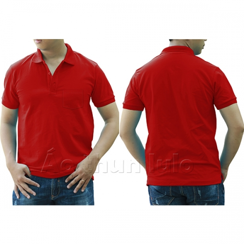 Polo shirt with pocket - Red