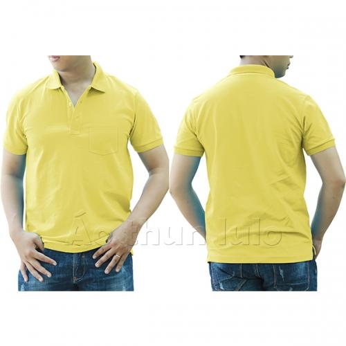 Áo thun cổ trụ có túi - Màu vàng