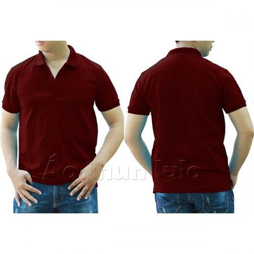 Polo shirt with pocket - Dark red
