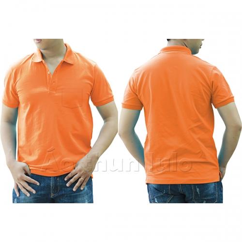 Áo thun cổ trụ có túi - Màu cam