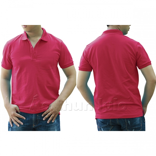 Polo shirt with pocket - Dark pink