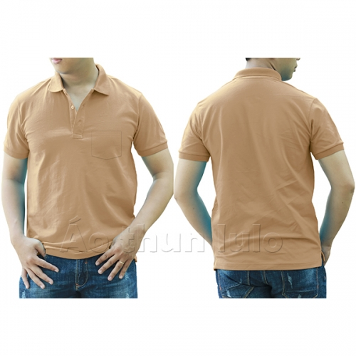 Polo shirt with pocket - Coffee
