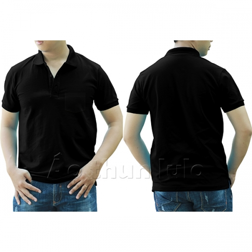 Polo shirt with pocket - Black