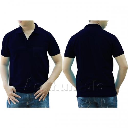 Áo thun cổ trụ có túi - Màu xanh navi/ xanh đen
