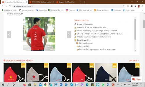 Cập nhật thông tin shop áo thun lulo trên Shopee